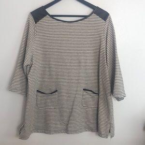 Susan graver cream and black striped sweater sz 2X